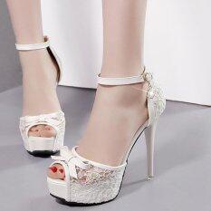 โปรโมชั่น รองเท้าสตรี Peep Toe Platform รองเท้าส้นสูง Sandals พรรคหวานกับโบว์ สีขาว