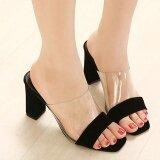 ราคา Women S Peep Toe Square Heel High Heels Slim Party Slippers Black Intl ใหม่ล่าสุด