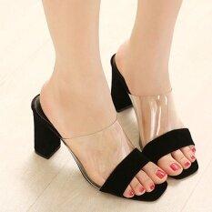 ขาย Women S Peep Toe Square Heel High Heels Slim Party Slippers Black Intl ถูก ฮ่องกง