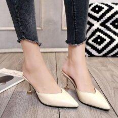 ขาย รองเท้าแตะส้นสูงของผู้หญิง Beige ถูก