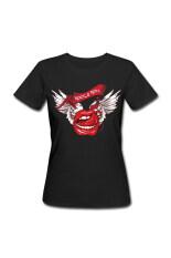 ราคา ผู้หญิงหิน N Roll ปีก Lips ปรับแต่งเสื้อยืด สีดำ Unbranded Generic ออนไลน์