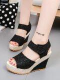 ราคา Women S Sandals Wedge Heel Peep Toe Platform Shoes Black Intl Jollychic ใหม่