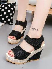 ราคา ราคาถูกที่สุด Women S Sandals Wedge Heel Peep Toe Platform Shoes Black Intl