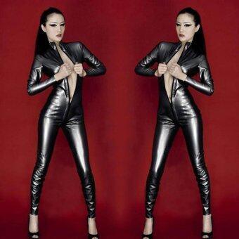 ผู้หญิงเซ็กซี่กระชับซิปเปิดเป้าสิทธิบัตรหนัง Jumpsuit ชุดชั้นใน-ดำ (เอส) -นานาชาติ