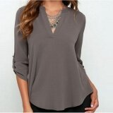 Women S Spring Summer Autumn Fashion Casual Plus Size Tops Lady S V Neck Long Sleeve Loose Roll Up Sleeve Blouse Grey Intl Unbranded Generic ถูก ใน จีน