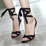 โปรโมชั่น Women S Square Heel Sandals Elegant Party Ankle Strap Heels Black Intl ใน ฮ่องกง