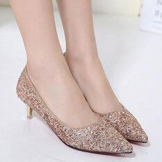 ขาย ซื้อ Women S Stiletto Bridal High Heels Club Party Pumps With Sequined Glod Intl