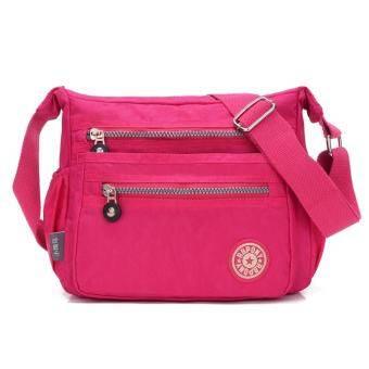 ผู้หญิงถนนสไตล์กระเป๋าพาดไหล่ผ้าไนลอน CLASSIC CROSS Body Bag - สีแดงกุหลาบ-