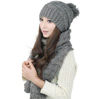 หมวกถักไหมพรมผู้หญิงห่มผ้าคลุมไหล่ผ้าพันคออุ่น ๆ เสื้อสูทชุดหมวกสีเทา