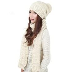 ราคา หมวกถักไหมพรมผู้หญิงห่มผ้าคลุมไหล่ผ้าพันคออุ่น ๆ เสื้อสูทชุดหมวกขาว ที่สุด