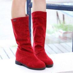 ซื้อ Womens Winter Warm Snow Boots Suede Mid Calf Boots Platform Fashion Flat Shoes Red Intl Unbranded Generic
