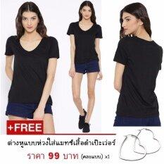 ขาย Wowchicy เสื้อยืดคอกลมแขนสั้นผ้าคอตต้อนสีดำแถมฟรีต่างหูเงินห่วงใส่เข้าชุดเป๊ะเว่อร์ Wow Chicy ใน Thailand