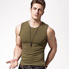 ซื้อ Xdian Men Tank Top Broad Shoulder Stretchy Athletic Sleeveless Casual Shirt O Neck Amy Green Intl ใหม่