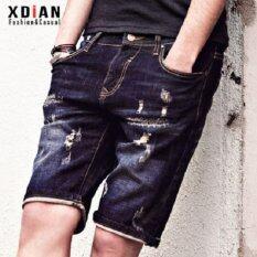 ราคา Xdian Mens Jeans Black Pants Fashion Holes Leisure Casual 1 2 Long Trousers Intl เป็นต้นฉบับ