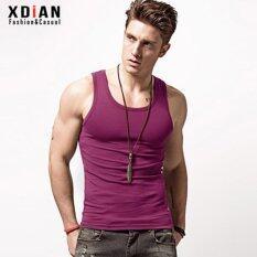 โปรโมชั่น Xdian Mens Tank Top Sports Gym Pure Cotton Slim Fit Sleeveless T Shirt(Fuchsia) Intl จีน