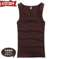 Xdian Men S Tank Top Square Neck Sports Gym Athletic Slimming Undershirt Fashion Vest Coffee Color Intl ใหม่ล่าสุด