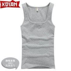 ขาย Xdian Men S Tank Top Square Neck Sports Gym Athletic Slimming Undershirt Fashion Vest Grey Color Intl