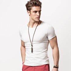 ราคา Xdian Solid Color T Shirt Men Cotton Short Sleeve Athletic Casual Shirt O Neck(White) Intl Xdian