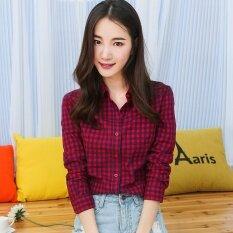 ขาย เสื้อเชิ้ตเกาหลีเสื้อผ้าฝ้ายหญิงแขนยาว Hong สีฟ้า Unbranded Generic ออนไลน์