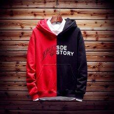 ซื้อ ยุโรปและสหรัฐอเมริกาลมผู้ชาย Xl วัยรุ่นคลุมด้วยผ้าเสื้อสวมหัวเสื้อกันหนาวฤดูใบไม้ผลิเสื้อกันหนาว ตีสีดำและสีแดง ฮ่องกง