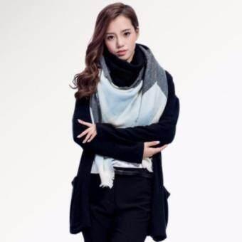 Y and L Supportผ้าคลุมไหล่เกาหลี ผ้าพันคอ ผ้าพันคอแฟชั่น ผ้าแคชเมียร์ สีฟ้าประกายดำCashmere Scarf-110D-Blue-Black