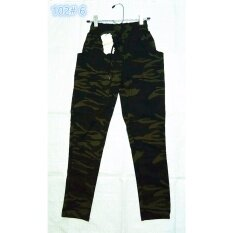 ราคา Y55 Shop กางเกงขายาวแฟชั่นผู้หญิง กางเกงจินนี่ลายทหาร ฟรีไซส์ 102#6 เป็นต้นฉบับ Ljy