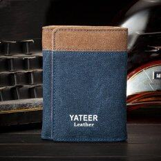 ราคา ราคาถูกที่สุด Yateer Canvas Man Brand Wallets Men Purses Card Holder