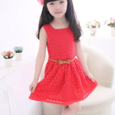 ขาย ซื้อ ออนไลน์ Ybc Summer Girls Sleeveless Princess Dress Lace Hollow Out With Belt Red Intl