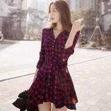 โปรโมชั่น Yidabo New Fashion Women Casual Mini Long Sleeve Lapel Plaid Irreggular Shirt Dress Intl ถูก