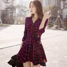 ราคา Yidabo New Fashion Women Casual Mini Long Sleeve Lapel Plaid Irreggular Shirt Dress Intl จีน