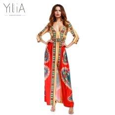 โปรโมชั่น Yilia New Party African Print Long Maxi Dresses Three Quarter Sleeves Summer Pencil Bodycon Dress 2017 Women Casual Traditional Intl