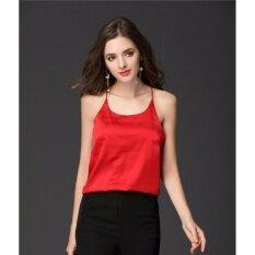 ทบทวน Yohanne ผู้หญิงเซ็กซี่แขนกุด X กลับสแตร็ปปี้ Silk Cami เสื้อกั๊กเสื้อยืด สีแดง นานาชาติ