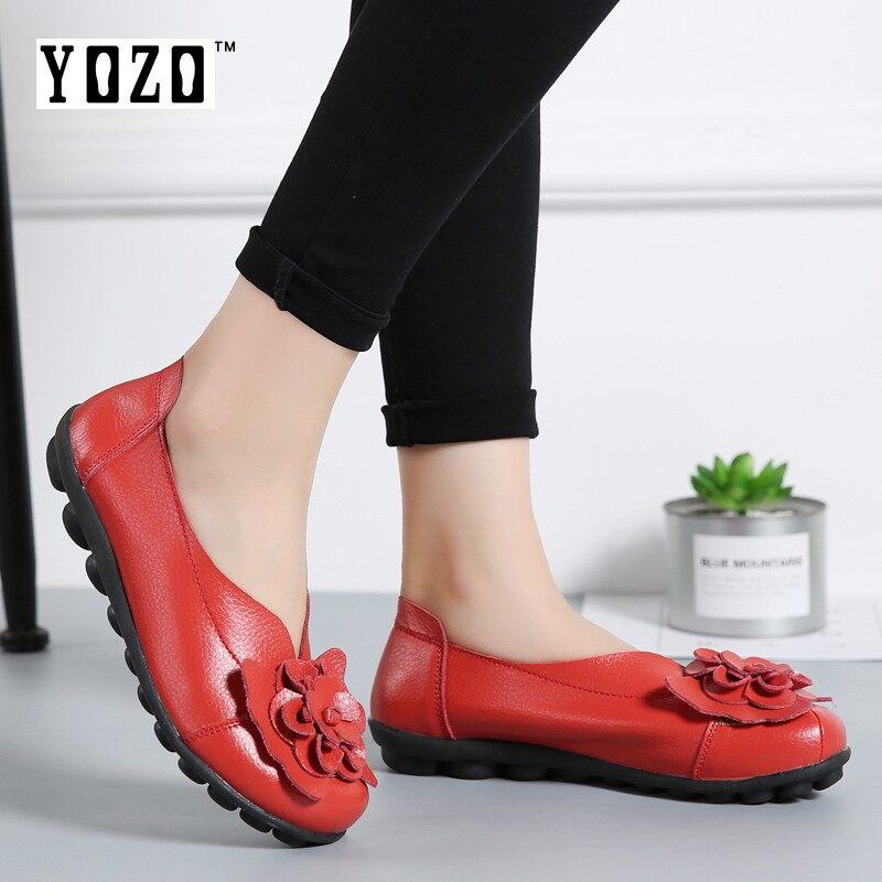 Yozo Kulit Asli Nyaman Sepatu Wanita Ibu Sepatu Wanita Sepatu Balet Sepatu Loafer Tergelincir Wanita Datar Sepatu Tari Besar ukuran 35-44 Meter-Internasional