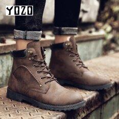 โปรโมชั่น Yozo ขายร้อนผู้ชายฤดูใบไม้ร่วงฤดูหนาวรองเท้าหนังผู้ชายข้อเท้ารองเท้าแฟชั่นลำลองรองเท้าลูกไม้ขึ้นนิ้วเท้าความปลอดภัยรองเท้ามาร์ตินบู๊ทส์ Yozo ใหม่ล่าสุด
