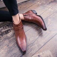 ราคา ราคาถูกที่สุด Yozo ผู้ชายรองเท้ามาร์ตินรองเท้าแฟชั่นอย่างเป็นทางการรองเท้าหนังเทียมกลอนสบายรองเท้าผู้ชายคุณภาพดี