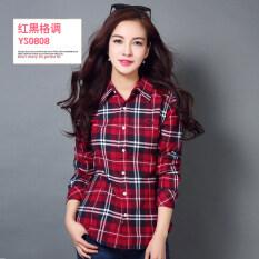 ขาย เสื้อเชิ้ตผู้หญิงแขนยาวลายตารางขาวดำผ้าคอตตอนทรงสลิมสไตล์เกาหลี Ys 0808 Ys 0808 Unbranded Generic