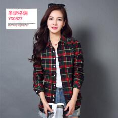 โปรโมชั่น เสื้อเชิ้ตผู้หญิงแขนยาวลายตารางขาวดำผ้าคอตตอนทรงสลิมสไตล์เกาหลี Ys 0827 Ys 0827 Unbranded Generic ใหม่ล่าสุด