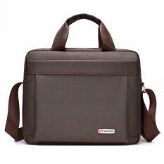 ราคา Yslmy Men Waterproof Handbag Business Work Shoulder Bag Cross Body Messenger Laptop Purse Portable Multi Function Brown Intl