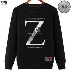 Qiku เสื้อฮู้ดดี้คู่รักสไตล์เกาหลีทรงหลวมคอกลมแขนยาว สีดำ Z ถูก
