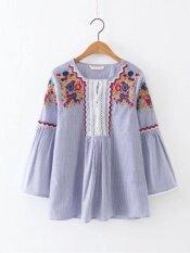 ขาย เสื้อหญิง แขนบาน สไตล์ยุโรป อเมริกา สีฟ้า สีฟ้า ถูก
