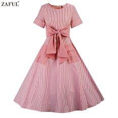 ขาย ซื้อ Zaful Hepburn Vintage Series Woman Dress Spring And Summer Stripe Printing Design Round Neck Short Sleeve Bowknot Waist Check Pocket Dress Intl ใน จีน