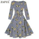 Zaful Hepburn Vintage Series Women Dress Floral Printing Design Long Sleeve Belt Zipper Back Retro Dress Intl เป็นต้นฉบับ