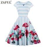 ขาย Zaful ใหม่มาถึงชุดวินเทจปาร์ตี้ผู้หญิงแขนสั้น 50 วินาทีสีฟ้าและสีขาวลายพลัสขนาด Flamingo พิมพ์แกว่งชุด นานาชาติ Zaful ใน จีน