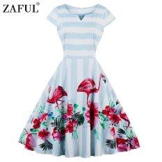 ราคา Zaful ใหม่มาถึงชุดวินเทจปาร์ตี้ผู้หญิงแขนสั้น 50 วินาทีสีฟ้าและสีขาวลายพลัสขนาด Flamingo พิมพ์แกว่งชุด นานาชาติ Zaful เป็นต้นฉบับ