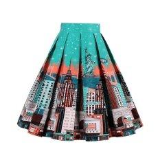 ขาย Zaful Pleated Skirts Womens Summer Swing Skirt Mountain Gorgeous Print Vintage Floral Midi Vintage Plus Size Skirt Intl จีน