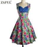 ขาย Zaful Woman Vintage Dress Spring And Summer Floral Printing Elegant Style Sweetheart Neckline And Sleeveless Design Vintage Dress Intl ใหม่
