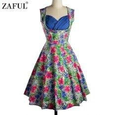 ราคา Zaful Woman Vintage Dress Spring And Summer Floral Printing Elegant Style Sweetheart Neckline And Sleeveless Design Vintage Dress Intl ใหม่ล่าสุด