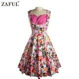 ขาย Zaful Woman Vintage Dress Spring And Summer Floral Printing Elegant Style Sweetheart Neckline And Sleeveless Design Vintage Dress Pink Intl ใหม่