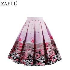 โปรโมชั่น Zaful Woman Vintage Skirt Summer Fruit Floral Printing Zipper Side Elegant Style Design Retro Skirt Intl Tc ถูก