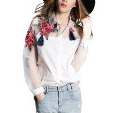 ราคา Zanzea ผู้หญิงฤดูใบไม้ผลิ Blusas วินเทจ Embroideryfloral พิมพ์เสื้อผู้หญิงเสื้อ Elegza Organza พลัส Sizewhite สนามบินนานาชาติ ใหม่